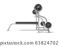 3d rendering of weight bench with metal barbell isolated on white background 63824702