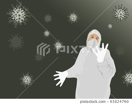 People wear protective clothing. Germs floating in the air .Black background 63824760