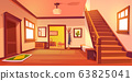 Rustic house hallway interior with wooden stairs 63825041