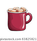 Cup with coffee and marshmallows, delicious hot drink drawn in cartoon flat style. 63825821