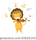 Animals playing music lion violin 63826143