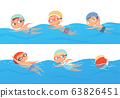 Kids swimming. Happy children water sport in pool summer swimming classes vector collection set 63826451
