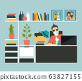 Business man in the office wear mask to prevent corona virus. Flat vector. 63827155