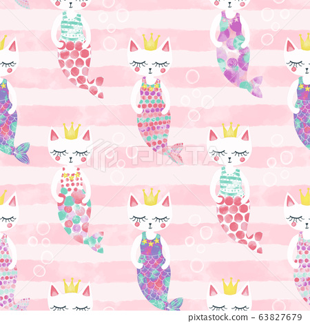 Mermaid cats seamless pattern. Cute Kittens with mermaid tails and crowns on pink striped background 63827679