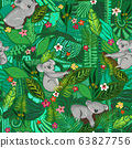 Koala bears seamless pattern. Cute koalas between jungle leaves and flowers background. Australian 63827756