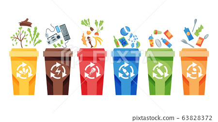 Garbage collection recycling. Plastic containers for garbage of different types. Rubbish container concept logo. Vector illustrations in cartoon style 63828372
