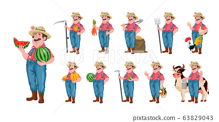 Cheerful farmer, set of eleven poses 63829043
