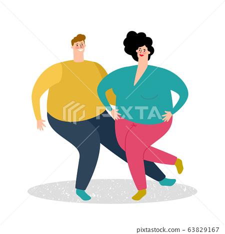 Plump dancing couple 63829167