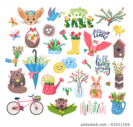 Cute spring set vector illustration, cartoon flat blooming flowers, happy animal or bird characters in birdhouse set icons isolated on white 63831169