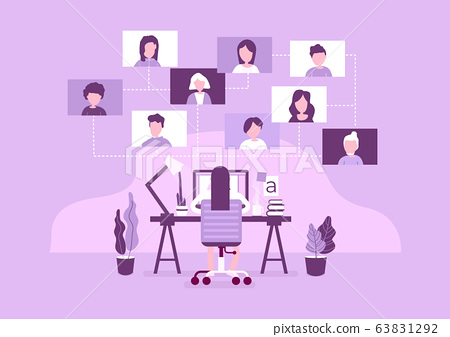 Work from home concept. Online working with colleagues. Designers sitting on the desk. 63831292