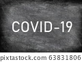 COVID-19 white chalck text on blackboard chalkboard texture distressed grunge background. Graphic design of corona virus drawing with title 63831806