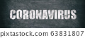 Coronavirus COVID-19 white text on blackboard chalkboard texture banner background. Graphic design of corona virus drawing panoramic with text title 63831807