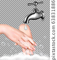 Hand washing to protect from coronavirus on 63831886