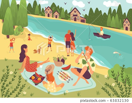 People on picnic outdoor with food and summer leisure, family on grass near trees and river with boat caroon vector illustration. 63832130
