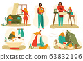 Mother and baby daily routine set of flat vector illustrations isolated on white. 63832196