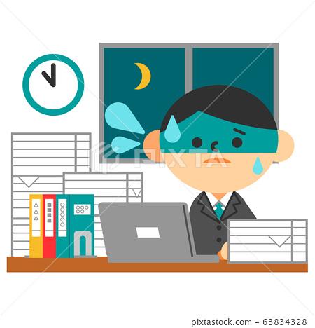 西裝平板筆記本電腦桌男性辛勤加班 63834328