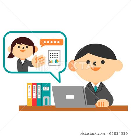 西裝平板筆記本電腦辦公桌遠程工作人 63834330