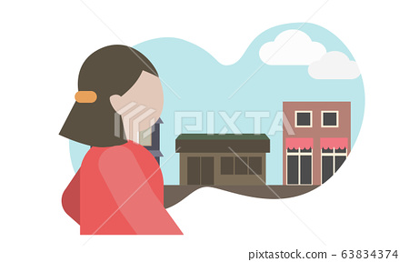 Illustration material of a young woman walking in the city 63834374