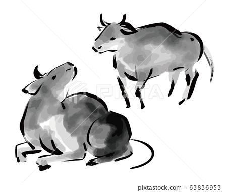 牛水墨畫插圖 63836953