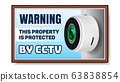 Cctv Camera On Warning Nameplate Poster Vector 63838854