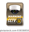 Cctv in Operation Warning Nameplate Banner Vector 63838858