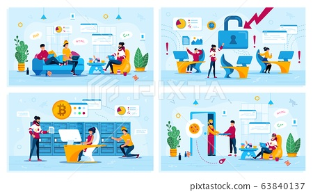 Freelance and Office Work Flat Vector Concepts Set 63840137