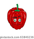 Red bell pepper with an emotional face. Vector in flat cartoon style. 63840236