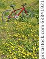紅色的自行車和蒲公英 63841921