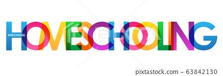 HOMESCHOOLING rainbow vector typography banner 63842130