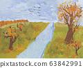 Children autumn landscape drawing shot 63842991