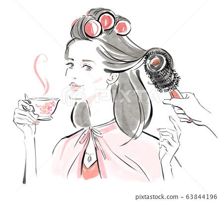 Styling at a beauty salon: dark hair 63844196