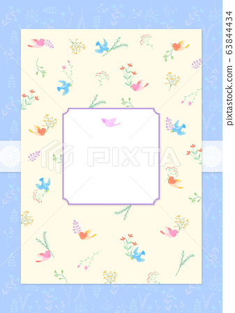 Colorful blooming flowers frame for card design illustration. 011 63844434