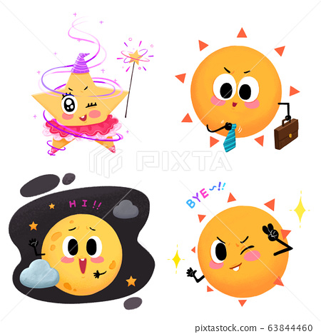 Set of Weather icon cartoon style illustration. 005 63844460