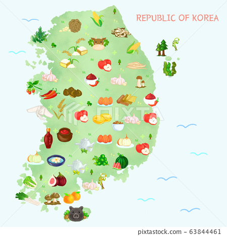 Map of food material in Korea, food-producing district illustration. 009 63844461