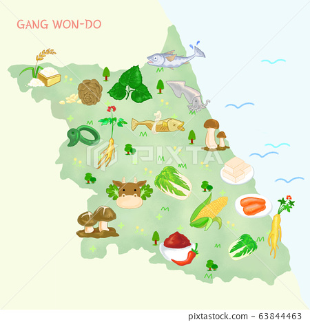 Map of food material in Korea, food-producing district illustration. 002 63844463