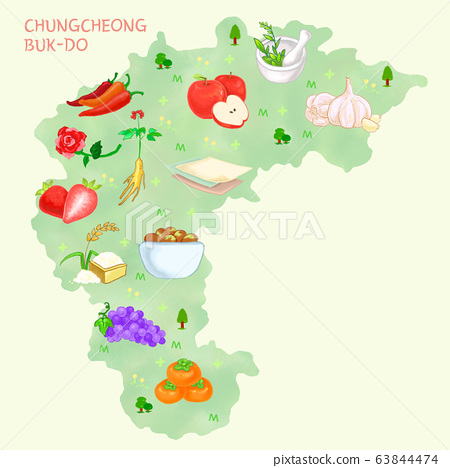 Map of food material in Korea, food-producing district illustration. 007 63844474