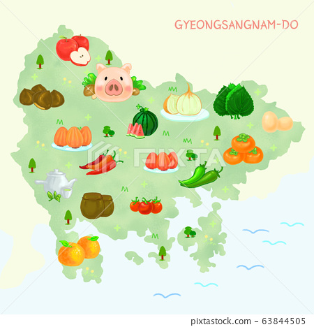 Map of food material in Korea, food-producing district illustration. 004 63844505