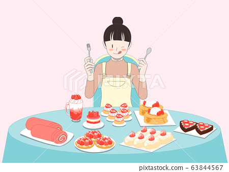 Group of people is eating food illustration. People having a great time 009 63844567