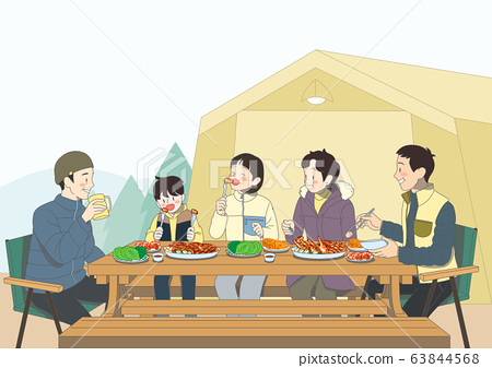 Group of people is eating food illustration. People having a great time 005 63844568