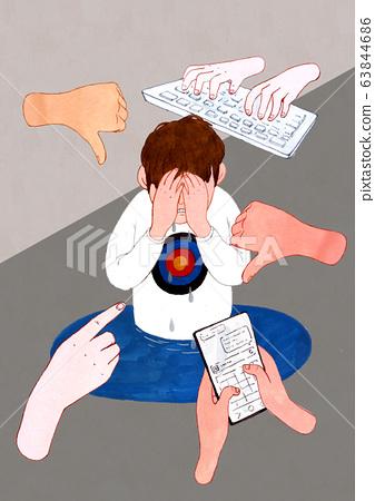 Cyberbullying concept illustration. Social media problem, Internet, cyberbullying, and harassment. 006 63844686