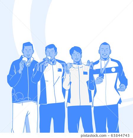 Sports Athletes silhouette illustration 003 63844743