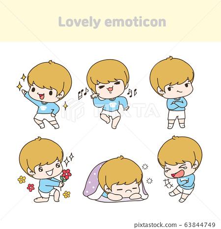 Set of cute emoticon. Funny cartoon character illustration 017 63844749
