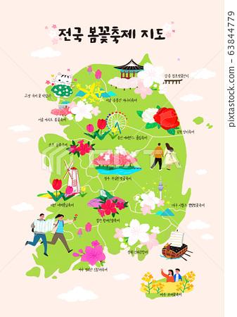 Tourist Map of South Korea concept, famous for various tourist attractions illustration 002 63844779