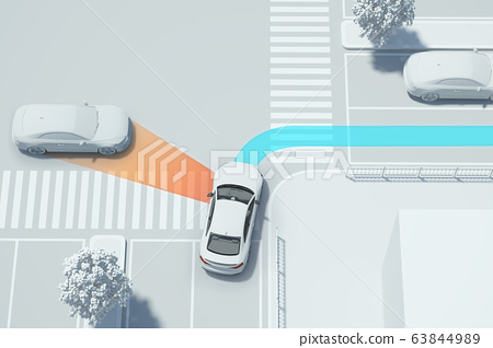 3D smart car safety system on the road 005 63844989