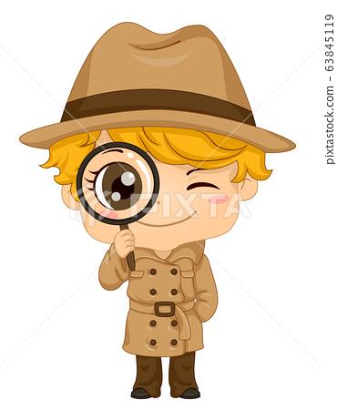 Kid Boy Detective Illustration 63845119