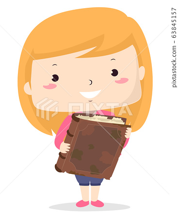 Kid Girl Adjective Old Book Illustration 63845157