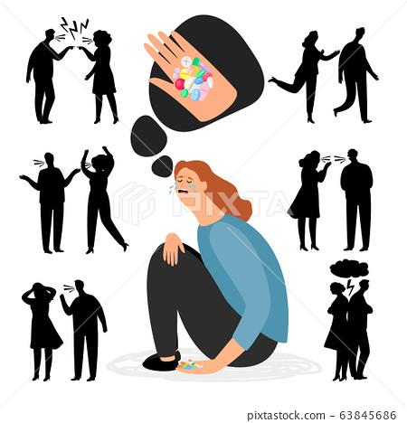 Antidepressants pills. Depression after quarrel or divorce 63845686