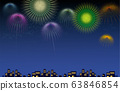 Illustration of cityscape silhouette with fireworks 63846854