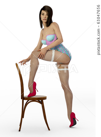 Attractive woman in burlesque clothes in sexy pose with a chair 63847656