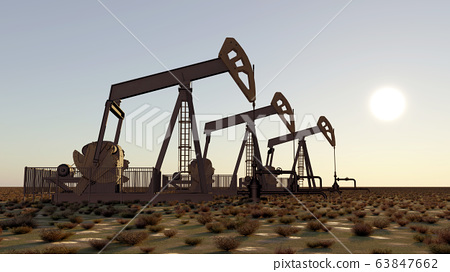 Oil pumps at sunset 63847662
